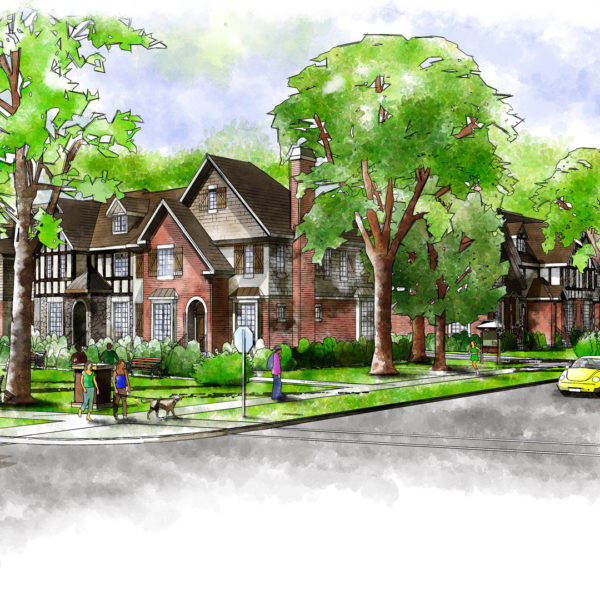 Watercolor Illustrations of Park Avenue Townhomes